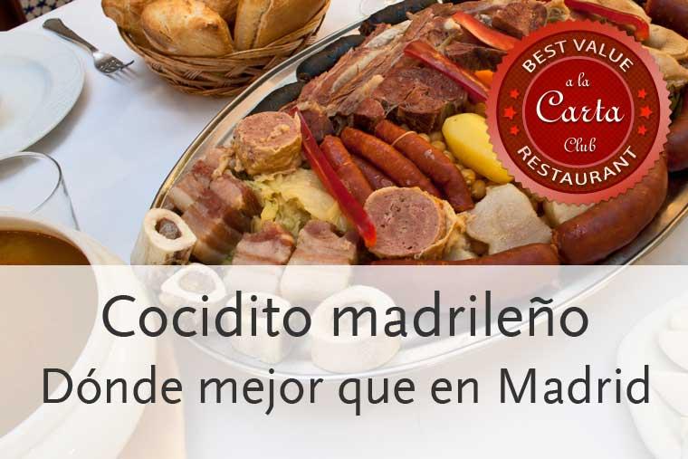 Los mejores restaurantes de Madrid para tomar cocido madrileño