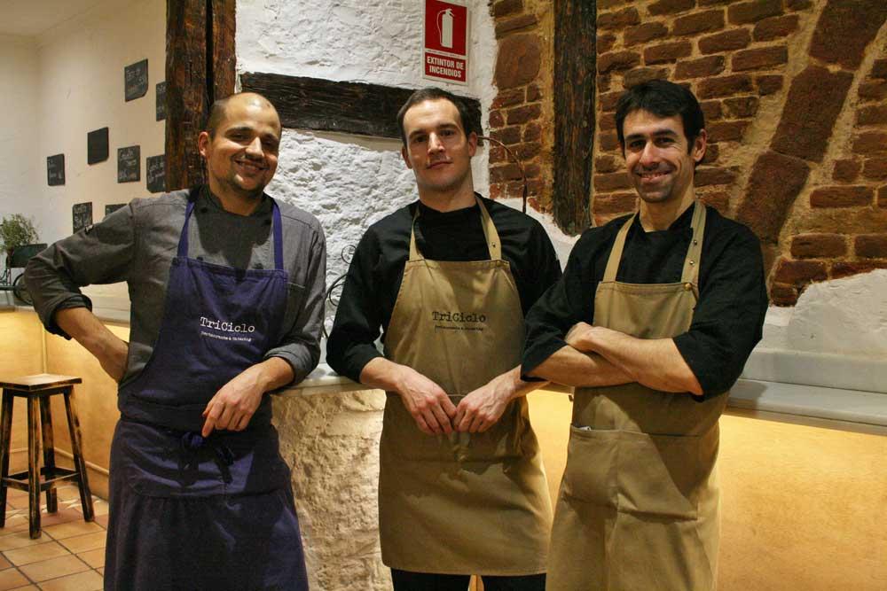 Javier Goya, Javier Mayor y David Alfonso, del restaurante Triciclo de Madrid