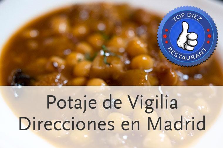 Restaurantes para tomar un buen potaje de Vigilia en Madrid